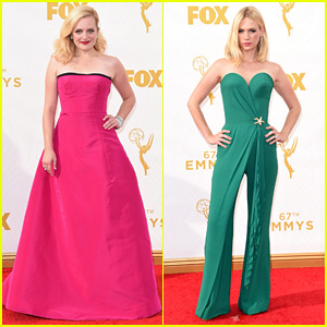 Elisabeth Moss & January Jones Stun in Pink & Green at Emmys 2015!