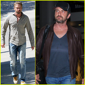 Gerard Butler Meets a Friend for Lunch After Los Angeles Arrival