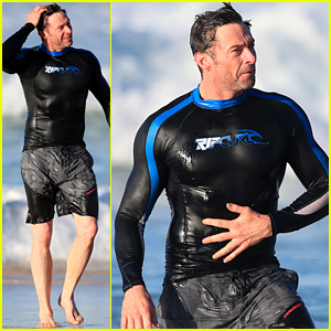 Hugh Jackman's Muscles Are Bulging Out of His Wet Suit!