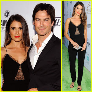 Ian Somerhalder & Nikki Reed Meet a Llama on the Red Carpet