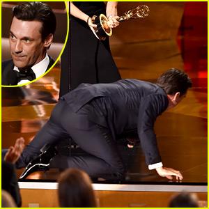 Jon Hamm Climbs On Stage After Finally Winning an Emmy (Video)