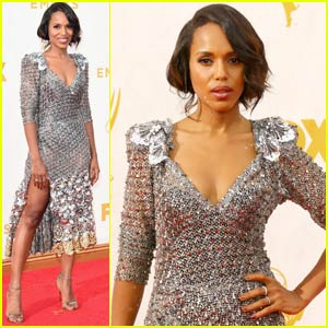 Kerry Washington Sparkles in Silver at Emmy Awards 2015