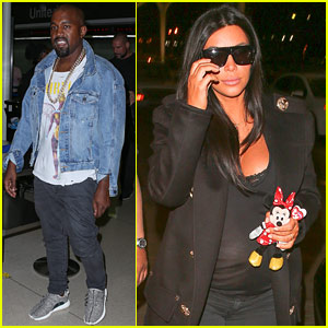 Kim Kardashian & Kanye West Board a Late Night Flight