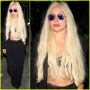 Lady Gaga Wears a Lacy Bra & No Shirt to Dinner