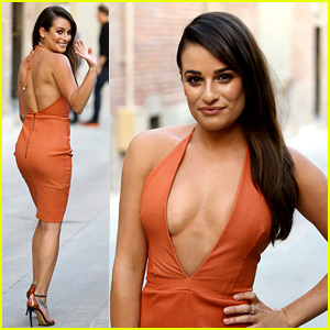 Lea Michele Stuns in Plunging Dress on 'Jimmy Kimmel Live'