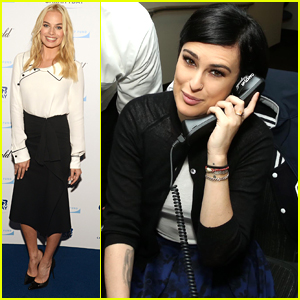 Margot Robbie & Rumer Willis Answer Phones During Cantor Fitzgerald's Charity Day