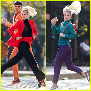 Nina Agdal Perfects the Running Jump Modeling Pose