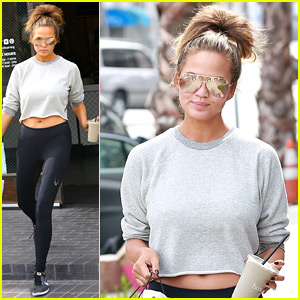 Pregnant Chrissy Teigen Wears a Crop Top in L.A.