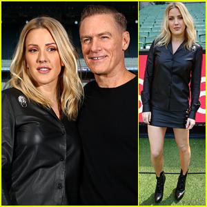 Ellie Goulding Walks the Cricket Field with Bryan Adams