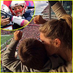 Gisele Bundchen & Son Benjamin Cheer on Tom Brady & the Patriots!