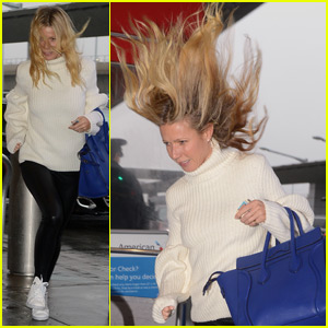 Gwyneth Paltrow's Hair Gets Windswept at JFK Airport