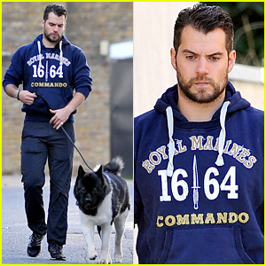 Henry Cavill Takes His Dog for a Walk in London