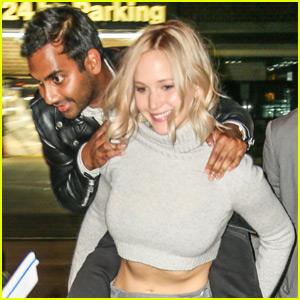 Jennifer Lawrence Gives Aziz Ansari a Piggyback Ride Outside 'Saturday Night Live' After-Party