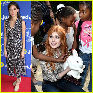Katherine McNamara Plays With the Kids at Just Jared Jr. & Amazon Prime's Fall Fun Day Celebrating 'Gortimer Gibbons'!