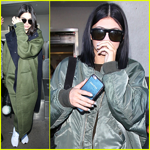 Kendall & Kylie Jenner Arrive Back In LA Just A Day After 'Balmain x H&M' Fashion Show