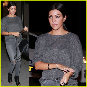 Kourtney Kardashian Goes Gray for Dinner Night Out