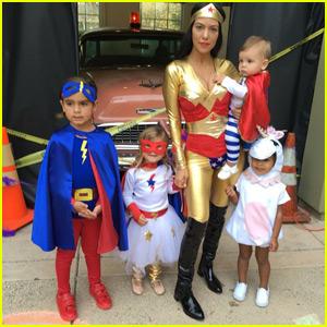 Kourtney Kardashian Sports Sexy Wonder Woman Costume for Halloween With the Kids!