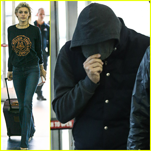 Leonardo DiCaprio & Kelly Rohrbach Jet Out Of JFK Airport!