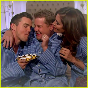 Matt Bomer & Cindy Crawford Snuggled in Bed with James Corden! (Video)