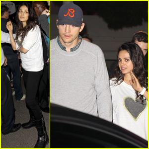 Mila Kunis & Ashton Kutcher Couple Up for Madonna Concert