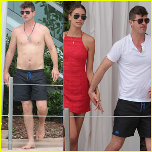 Robin Thicke Goes Shirtless At The Pool With Girlfriend April Love Geary