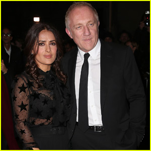Salma Hayek & Husband Francois-Henri Pinault Head to the Saint Laurent Show During Fashion Week