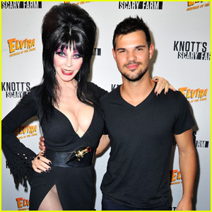 Taylor Lautner Cozies Up With Elvira at Knott's Scary Farm