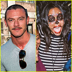 Luke Evans & Zoe Saldana Check Out the Frights at Universal's Halloween Horror Nights!