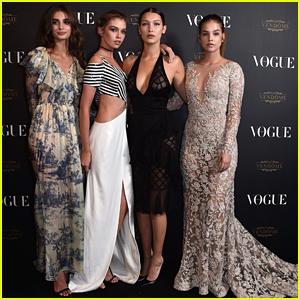 Bella Hadid & Stella Maxwell Join Barbara Palvin At Vogue's Anniversary Party in Paris