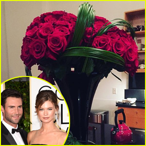 Adam Levine Surprised Behati Prinsloo with Roses After the Victoria's Secret Fashion Show!