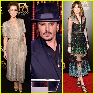 Dakota Johnson Joins Johnny Depp & Amber Heard at Hollywood Film Awards 2015