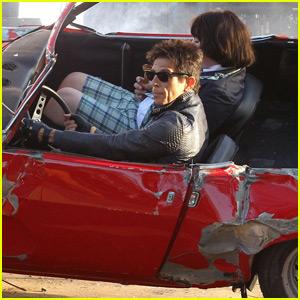 Ben Stiller Films a Car Crash Scene for 'Zoolander 2' in NYC