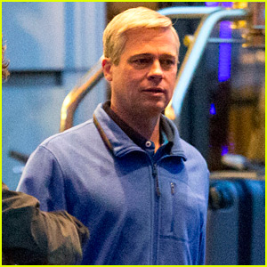 Brad Pitt Goes Back to Gray Hair on 'War Machine' Set!