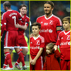 David Beckham Brings His 4 Kids to Charity Soccer Game