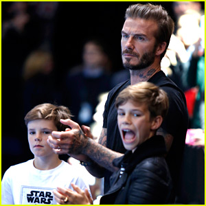 David Beckham Catches a Tennis Match with Romeo & Cruz!