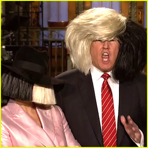 Donald Trump Tries on Sia's Wig for Funny 'SNL' Promo!