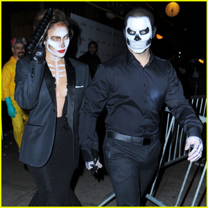 Jennifer Lopez & Casper Smart Are Matching Skeletons at Heidi Klum's Halloween Bash 2015