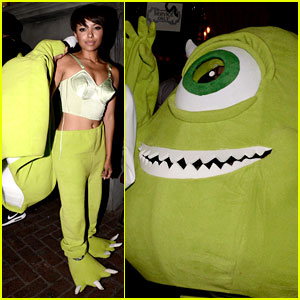 Kat Graham Goes Incognito as Mike Wazowski at the Just Jared Halloween Party!