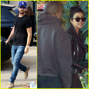 Kim & Kourtney Kardashian Grab Lunch, Scott Disick Steps Out Separately