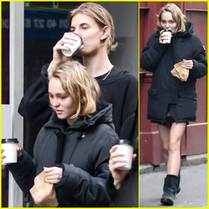 Lily-Rose Depp Grabs Coffee in Paris Wit