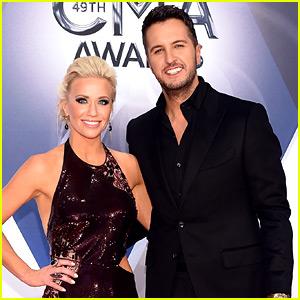 Luke Bryan & Wife Caroline Boyer Walk the CMA Awards Carpet