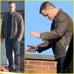 Matt Damon Films 'Bourne 5' on a Ledge in London!