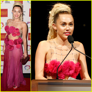 Miley Cyrus Channels a Pink Floral Mermaid at LGBT Center Vanguard Awards 2015
