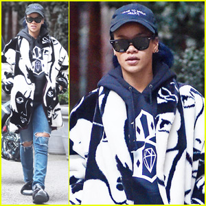 Rihanna Leaves Her NYC Hotel in Comfortable Slippers