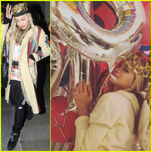 Rita Ora Rocks Crown for 25th Birthday Celebration With Friends