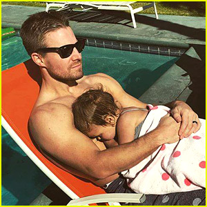 Stephen Amell Goes Shirtless for Thanksgiving with Baby Mavi!