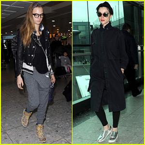 Cara Delevingne & Girlfriend St. Vincent Catch a Flight Together!