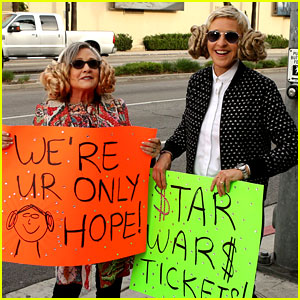 Carrie Fisher & Ellen DeGeneres Try to Sell 'Star Wars' Tickets!