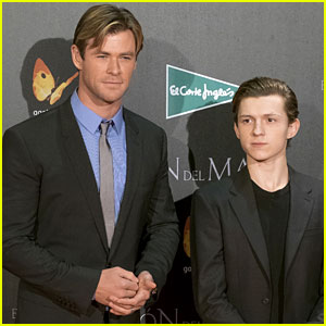 Marvel Stars Chris Hemsworth & Tom Holland Premiere 'In the Heart of the Sea' in Madrid