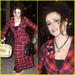 Helena Bonham Carter Curtsies for the Cameras in London